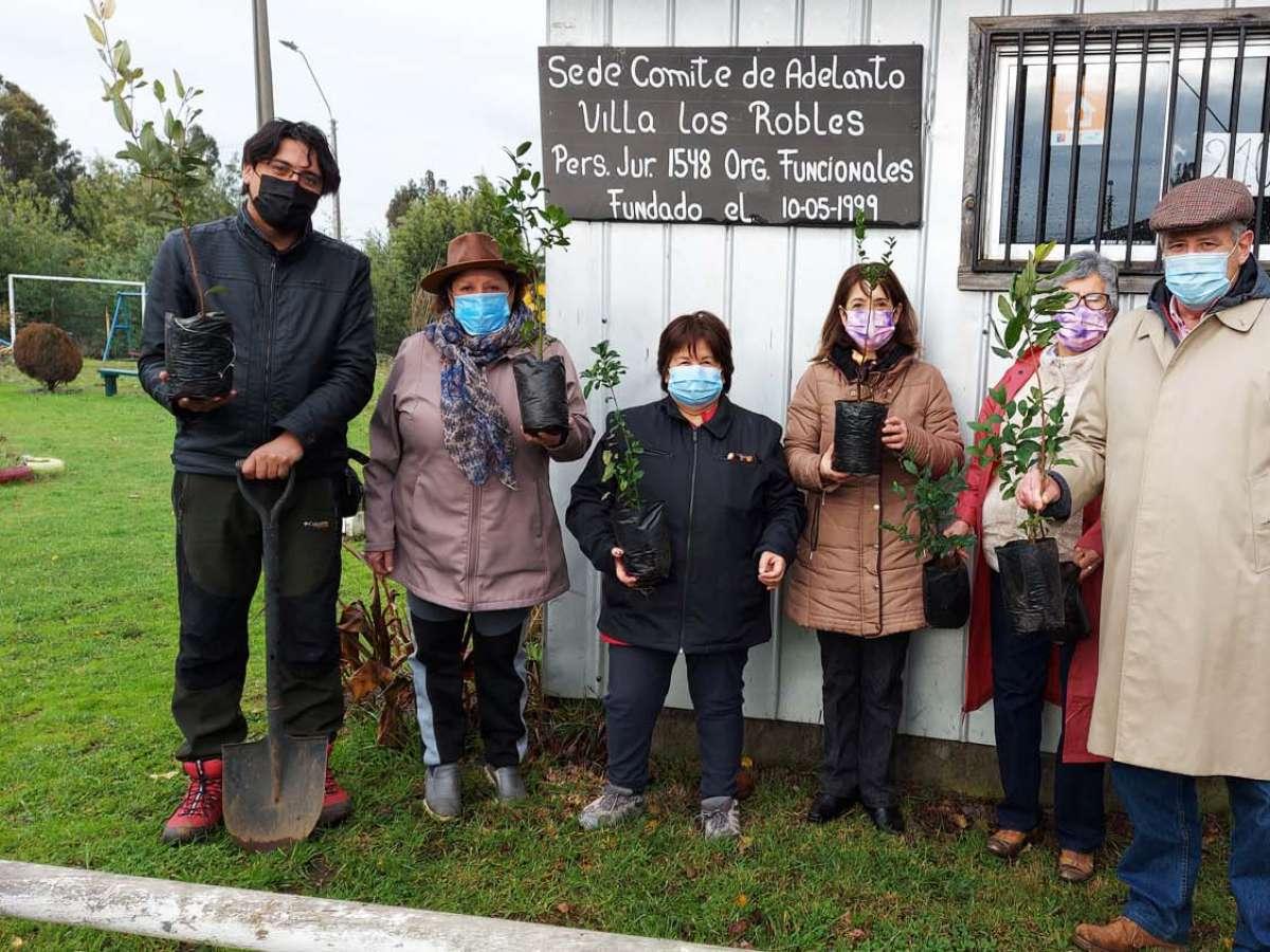 Corma dona especies nativas a colegio y juntas de vecinos en La Araucanía